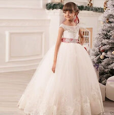 Flower Girl Dresses for Wedding Pageant Party Birthday Prom Princess White Ivory