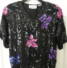 Vintage  Flowers Sequin Top by ILLUSTRATIONS - Embroidered Floral Mesh Blouse