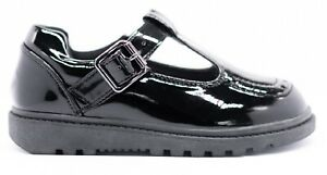GIRLS KIDS FLAT BLACK BACK TO SCHOOL LOAFERS DOLLY T-BAR STRAP BUCKLE SHOES 9-3