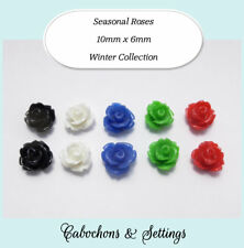 Resin Cabochon 5 Pairs 5 Colours Roses 10mm Retro Flowers Winter Colour Set