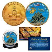 IWO JIMA U.S. Marines 1976 Bicentennial JFK Half Dollar 24K Gold Gilded US Coin