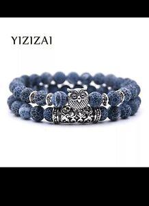 Eulen Armband mit Natursteinen für Männer & Frauen - Yoga, Energie, Schmuck