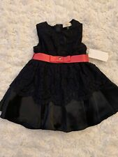 ARMANI BABY Navy Blue with Pink Belt Girl Dress Size 12 MTHS