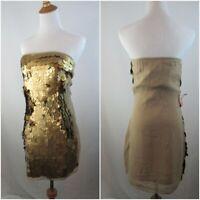NWT ASOS BLACK LABEL WOMENS SZ 6 GOLD BRONZE LARGE SEQUIN SLEEVELESS DRESS