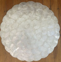 """Vintage 15"""" Mother Of Pearl Tray Cork Back Boho Aesthtic Retro"""