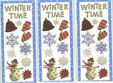 3 Large Sheets Winter Time Snow Scrapbook Stickers Flowers