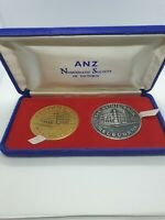 """MEDALLION PAIR - ANZ - """"THE GOTHIC BANK"""" 1975 MELBOURNE - NATIONAL TRUST No """"12"""""""