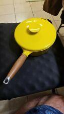 Vintage COPCO Michael Lax Designs Denmark Yellow Cast Iron Enamel 1.5 Qt Pot