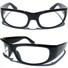 CLEAR LENS BLACK POLISHED FRAME EYE GLASSES Wrap Around Sports Frame Eyewear