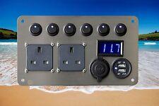 Vw T2 Bay Window Campervan Conversion 12v /240v USB Voltmeter Electrical Panel