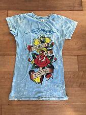 Ed Hardy Light Blue True To My Heart Ladies Tattoo Art T-Shirt Rose/Snakes MED