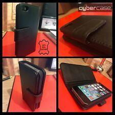 Apple Iphone 5 Real Genuino Cuero Billetera Estuche Original Negro