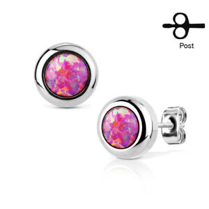PAIR Large 6mm Opal in 9mm Bezel Setting 316L Stainless Steel Earrings
