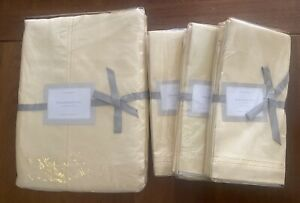"""NWT Williams-Sonoma Hemstitched 100% Yellow Linen 12 Napkins 70""""x126"""" Tablecloth"""