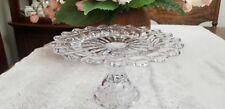 Moon & Star Clear Glass Scalloped Cake Plate Pedestal L.E.Smith American Glass