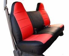 FORD F-250 350 BLACK/RED IGGEE S.LEATHER CUSTOM FIT BENCH FRONT SEAT COVER