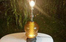 VINTAGE 1972 EF & EF INDUSTRIES MID CENTURY AMBER GLASS DIFFUSER TABLE LAMP MCM
