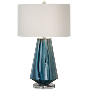 Uttermost 27225-1 Pescara Teal-Gray Glass Lamp