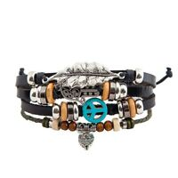 Fashion Leather Bracelet 4 strands Bohemian Style Gorgeous