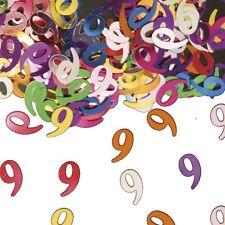 Confettis de table chiffre 9 multicolore Sachet de 14 grammes multicolore métal