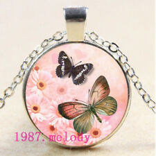 NEW Cabochon Glass necklace Silver/Bronze/Black pendant(pink butterfly)