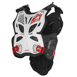 Alpinestars A10 ACU CE Approved EN1621 Chest Protector Armour White Red Adults
