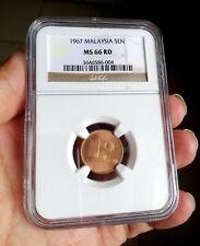1967 Malaysia 1 cent NGC MS 66 RD