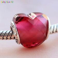 925 Sterling Silver Fuchsia Shape Of Love Charm Rose Crystal Valentines Day 2018