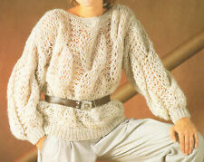 Ladies Cable Knit Chunky Sweater Jumper  Knitting Pattern 30-40 inch