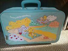 "Vintage 1986 Blue Care Bears Luggage Bag Suitcase ""Setting Sail for Grandma's"""