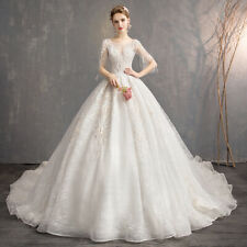 short sleeve v-neck wedding dress full-length ball gown lace bridal gown