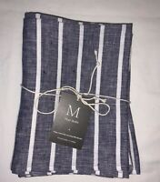 "NEW 100% Linen TEA DINNER LUNCH NAPKINS SET of 4 Handmade 17""X 17"" Rustic Stripe"