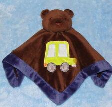 Tiddliwinks Brown & Blue Trim Teddy Bear Security Blanket Yellow Car Truck