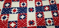 Vintage Afghan Throw Crocheted Red White Blue Lap Blanket Americana Squares