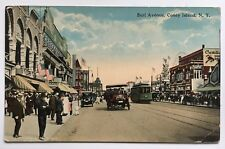 1918 NY Postcard Coney Island Brooklyn Surf Ave trolley streetcar vintage cars