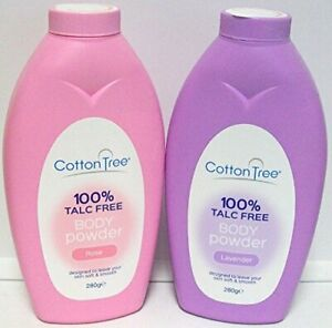 2x 280g Cotton Tree Body Powder 100% Talc Free For Soft Skin Rose & Lavender