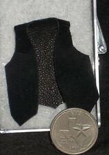 Dollhouse Miniature Western Cowboy Black Suede Leather Vest, New 1:12 Prestige