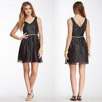 Romeo & Juliet Couture - Large V-neck Polka-Dot Dress, Navy