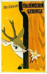 Original vintage poster ITALIAN MOUNTAIN HOLIDAYS DEER 1953