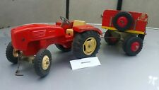 VINTAGE STEIFF 60 TRACTOR & TRAILER TOY GERMANY DDR GDR 60'S TIN METAL WOOD