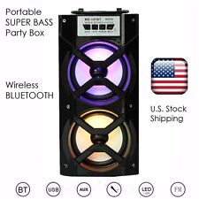 * Stereo Portable SUPER BASS Tower LED Color Bluetooth Speaker & FM for iPhone 6