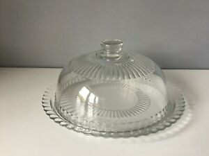 Luminarc Glass Cheese Plate With Lid - France - 32 cm Diameter
