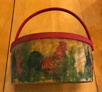 Vintage Wood Weave Basket Decoupage Chicken Rooster Farm Country Home Decor 14""
