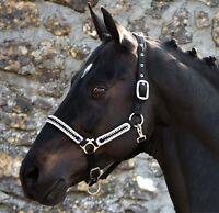 Horseware Rambo DIAMANTE Comfort Show HEADCOLLAR Black/Silver Pony/Cob/Full