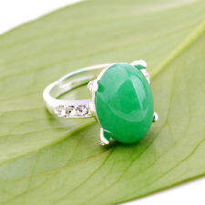New Noble Women Fashion White Gold Plated Diamond Green Jade Ring Jewelry
