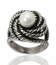 5pcs Wholesale Stainless Steel Freshwater Pearl Women's Ring Band Wedding Gift
