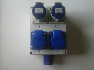 16amp distribution box c/w 4 x 16amp 240v outlets IP44 rated