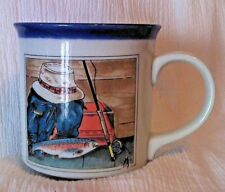Otagiri Japan Coffee Cup Mug Fly Fishing Pole Trout Artwork by Ruth Pengal