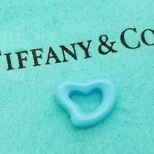 Tiffany & Co. Elsa Peretti Clear Turquoise Carved Small Open Heart Pendant