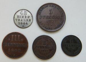Mecklenburg-Strelitz, 1/48 Taler 1864, 5 Pfg 1872, 3 Pfg 1862, 2 Pfg, Pfg 1872